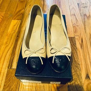 AUTHENTIC Chanel Classic Leather Ballet Flat